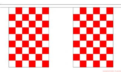 RED & WHITE CHECKERED BUNTING - 3 METRES 10 FLAGS